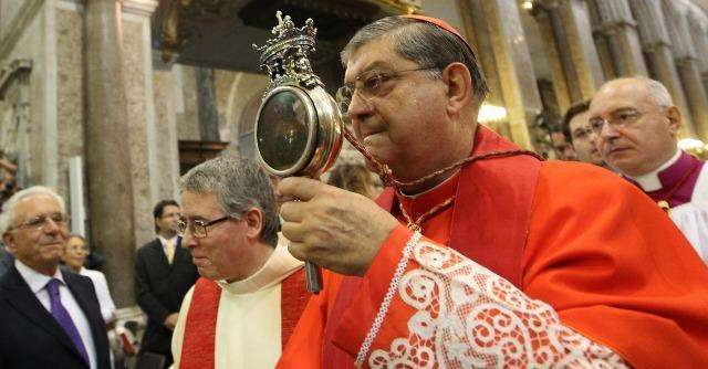 Cardinal 'blanches' while celebrating recurring miracle of saint's liquefied blood