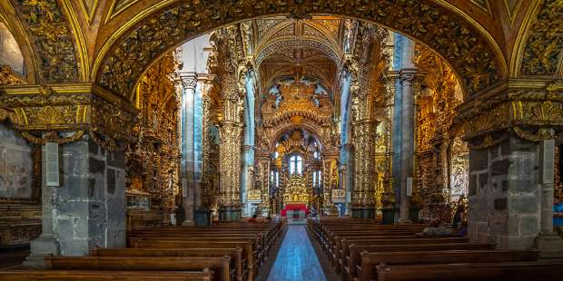 The inside of this Catholic church in Portugal is decorated with more than 650 pounds of gold dust