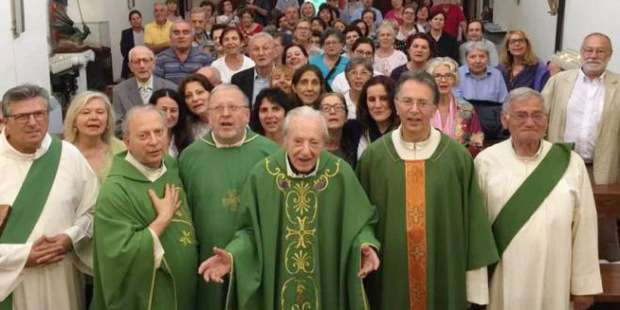 Italian priest concelebrates his 100th birthday Mass with his 4 sons, also priests