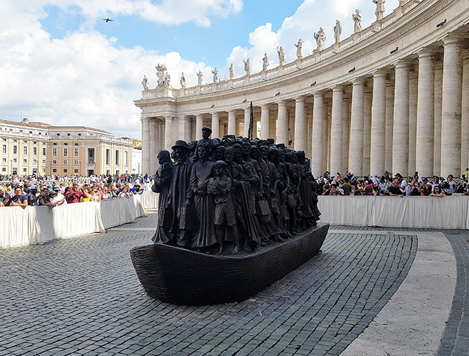 Pope Francis Unveils Dramatic New Sculpture in St. Peter's Square