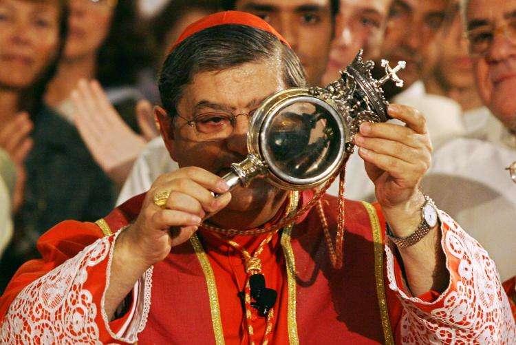 St. Januarius' blood liquifies in Naples