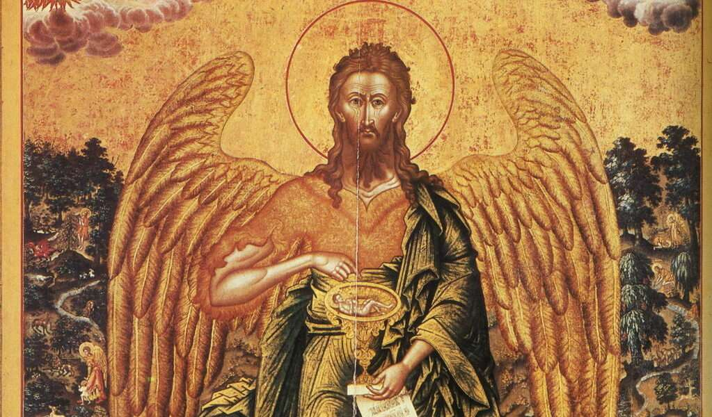 Why John the Baptist have wings in Orthodox icons