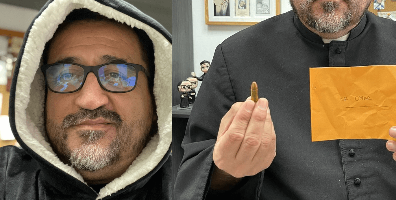 Priest who speaks out against injustice gets a threatening letter with a bullet